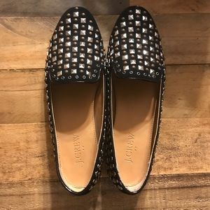 J. Crew Darby Black Velvet Studded Oxford Loafers